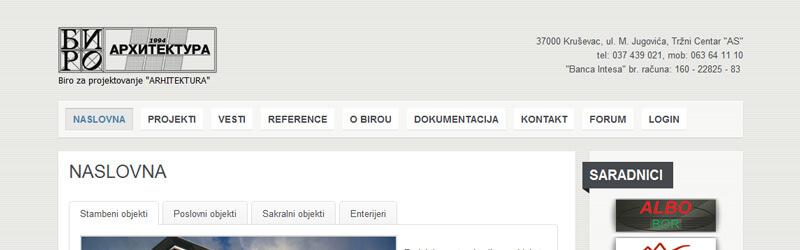 Biro Arhitektura web design